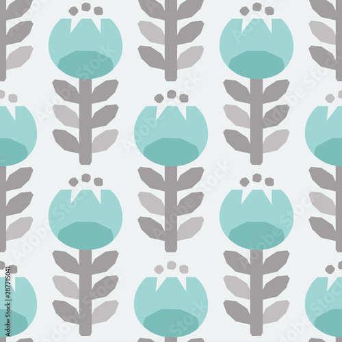Fényképezés  Scandinavian style tulips floral vector gray and light blue seamless pattern