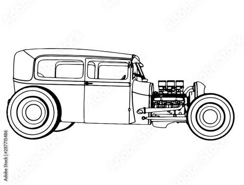 Valokuvatapetti sketch of a sports car roadster isolated vector