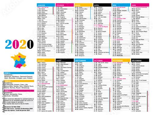 Calendrier 2020 Avec Semaine.Calendrier 2020 France Avec Jours Feries Semaines Et