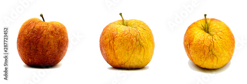 Fotografie, Tablou  Rotten decay red apple isolated on white background
