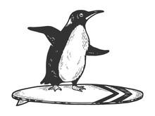 Penguin Bird Rides On Surfboar...