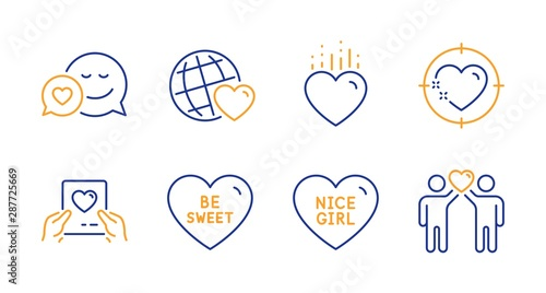 Friends world, Heart and Dating line icons set Wallpaper Mural