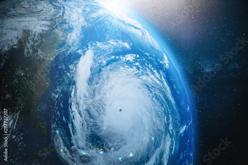 Photo Stands Countryside Aerial view from the space of a hurricane