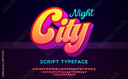 Night City. 3D script font in 1980s style. Illustration of 1980 retro neon poster. Futuristic landscape.