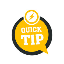 Yellow Quick Tips Logo, Icon Or Symbol With Graphic Elements Suitable For Web Or Documents
