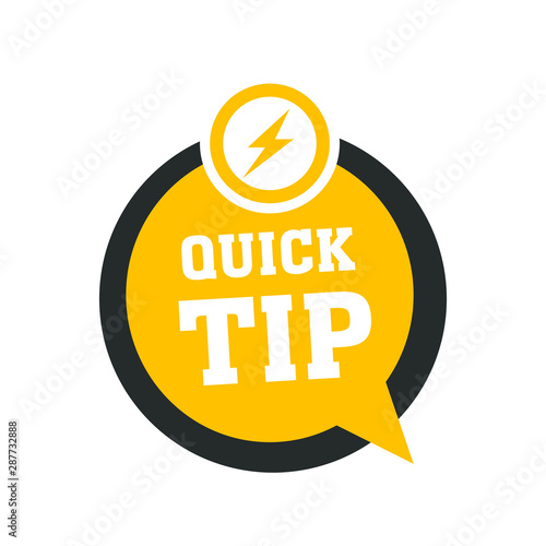 Yellow quick tips logo, icon or symbol with graphic elements suitable for web or Wallpaper Mural