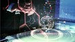 Man touching virtual interface