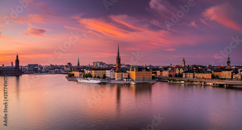 Poster Stockholm Scenic panoramic view of Gamla Stan, Stockholm at sunset, capital of Sweden.