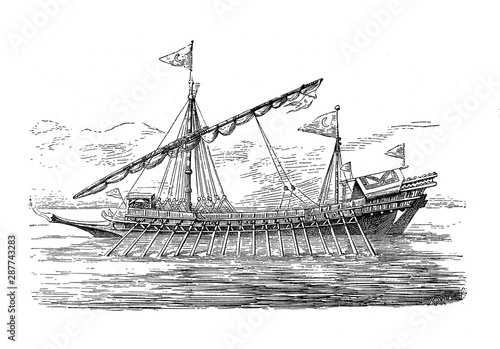 Fotografija Turkish galley ship  with long, slender hull and shallow draft  propelled by row