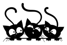 Black Cats Looking Out The Window. Cartoon Cats Look Out Of The Window. Black White Vector Illustration For Children. Tattoo.