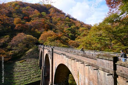 秋の碓氷第三橋梁、通称 めがね橋。安中 群馬 日本。11月上旬。 Wallpaper Mural