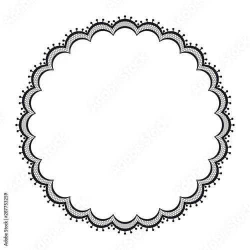 Valokuvatapetti Vector black lacy circular frame. Isolated on white background.