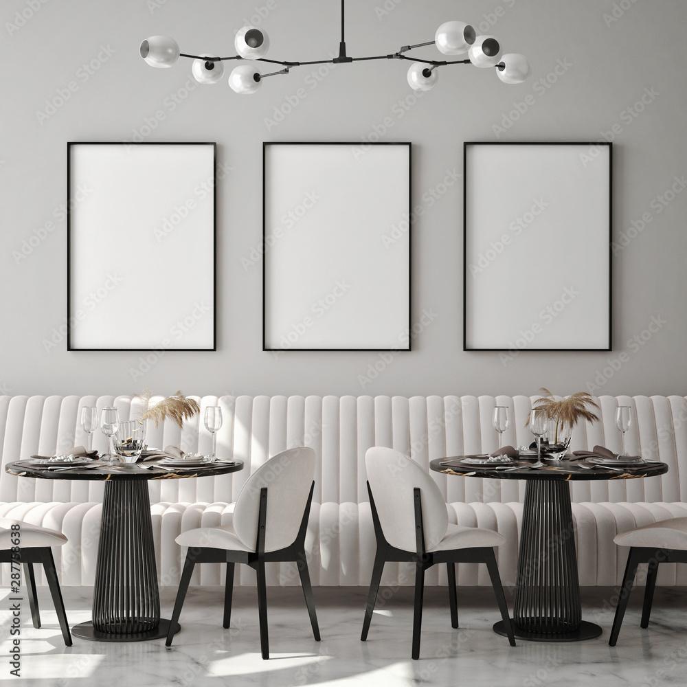 Fototapety, obrazy: mock up poster frame in modern interior background, cafe, restaurant, 3D render, 3D illustration