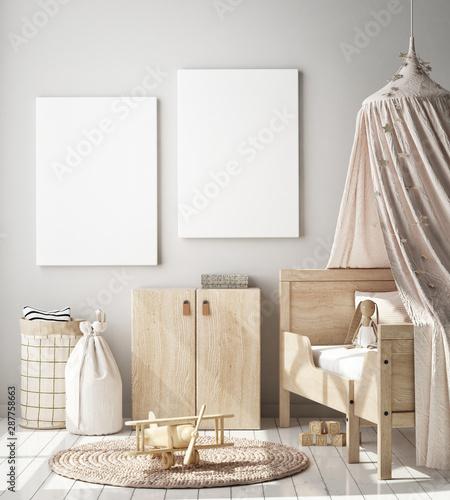mock up poster frame in children bedroom, Scandinavian style interior background, 3D render, 3D illustration Wall mural