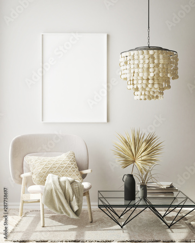 Poster Equestrian mock up poster frame in modern interior background, living room, Scandinavian style, 3D render, 3D illustration