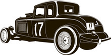 Vintage Hot Rod Vector Drawing Graphic Isolated, Monogram, Logo