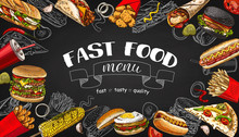 Vector Vintage Fast Food Special Offer. Hand Drawn Junk Food Frame Blackboard. Soda, Hot Dog, Pizza, Burger And French Fries Drawing. Great For Label, Menu, Poster, Banner, Voucher, Coupon, Business