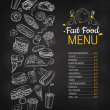 Fast Food Vector Hand Drawn Menu. Blackboard Junk Food Stripe Illustration. Soda, Hot Dog, Pizza, Burger And French Fries Drawing. Great For Label, Poster, Voucher, Coupon  E