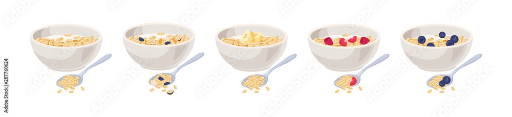 Fototapeta Vector illustration. Cereal bowl with milk, fruits isolated on white background. Concept of healthy and wholesome breakfast.