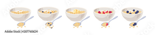 Vector illustration. Cereal bowl with milk, fruits isolated on white background. Concept of healthy and wholesome breakfast.