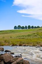Hills And Trees Over Karkloof Falls, Midlands, Kwazulu Natal, South Africa