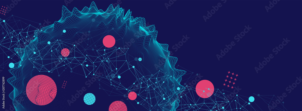 Fototapety, obrazy: Abstract sphere background with plexus effect. 3D surface.