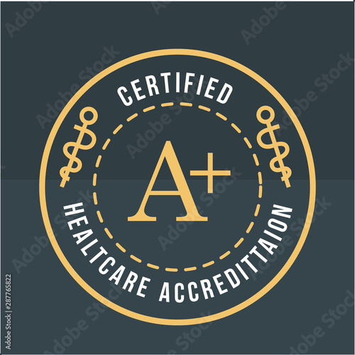 healthcare accreditation round stamp gold vector illustration Canvas Print