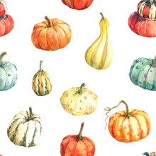 Watercolor Seamless Pattern With Pumpkins. Hand Drawn Watercolor Illustration.