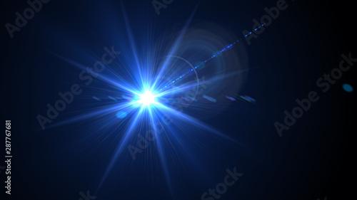Fotografie, Tablou  Bright light blue lense flare