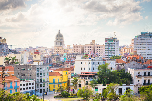 Poster de jardin Havana Havana, Cuba downtown skyline