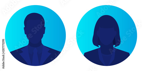 Cuadros en Lienzo  Male and female face avatars, man and woman silhouette heads in profile icon on blue brightly background