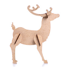 Wooden Christmas Deer On White Background Isolation