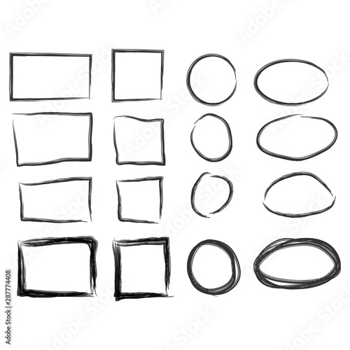 Fototapety, obrazy: Frames in doodle style. Set of rectangle handdrawn borders
