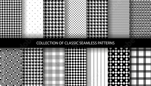 Collection of classic fashion houndstooth seamless geometric patterns Wallpaper Mural