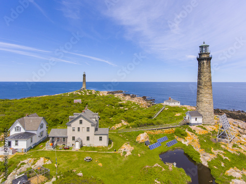 Valokuvatapetti Aerial view of Thacher Island Lighthouses on Thacher Island, Rockport, Cape Ann, Massachusetts, USA