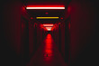 canvas print picture - Red light corridor scary concept horror scenery fear concept