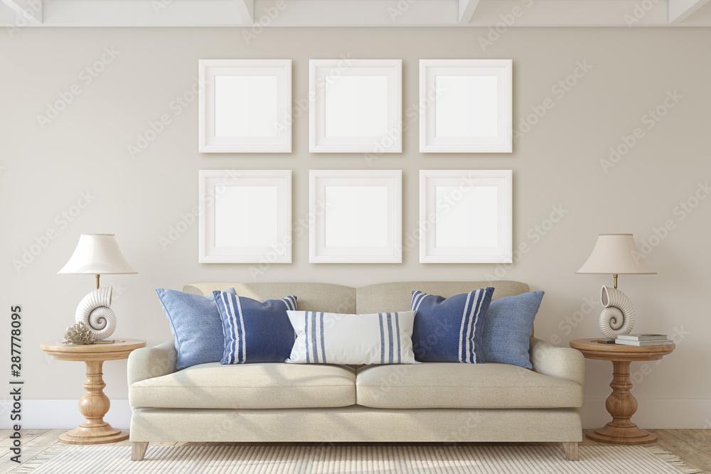 Fototapeta Living-room interior. 3d render.
