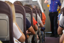 Airplane Rules For Safety On Board. Airplane Boarding Instructions.