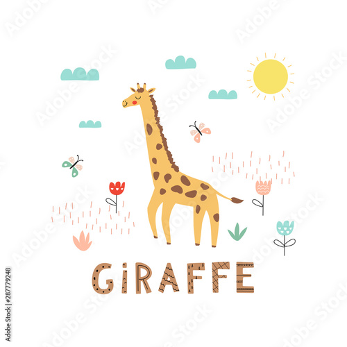 Cartoon giraffe character Wallpaper Mural