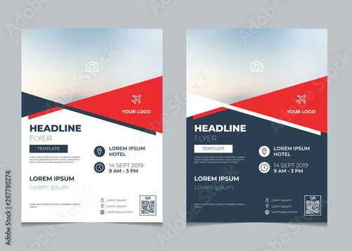 Obraz Set of business flyer template, brochure layout, poster design with geometric design - fototapety do salonu