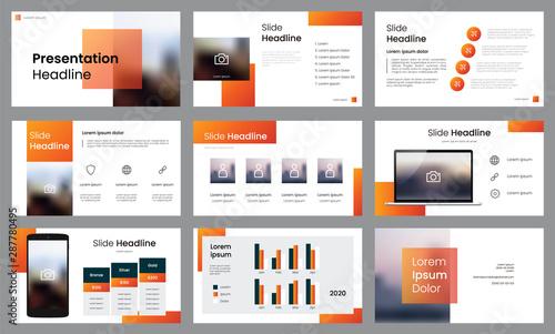 Set of slides presentation template layout vector, Orange colored design Canvas-taulu