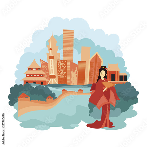 Landscape Beijing. Cartoon illustration of the sights of China. Vector drawing for travel agency. Wall mural