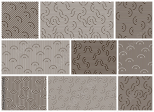 Fotografering Stripy vector seamless patterns with woven lines, geometric abstract backgrounds set, stripy net, optical maze, web network