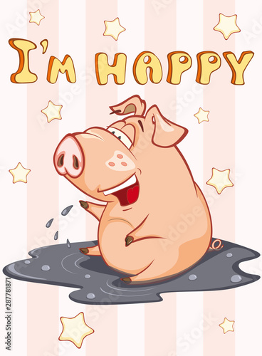 Türaufkleber Babyzimmer Happy Birthday Card Little Pig with Gift Pie. Vector Greeting Card. Happy Moment. Congratulation