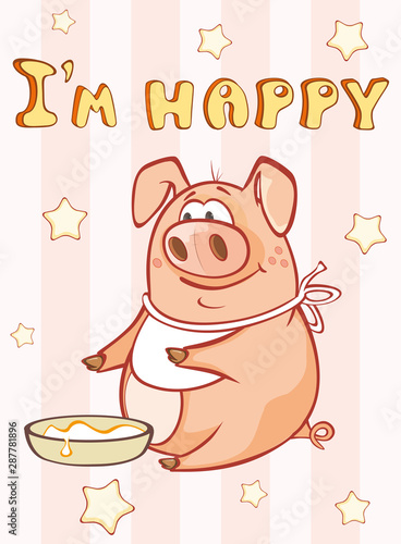 Fotobehang Babykamer Happy Birthday Card Little Pig. Vector Greeting Card. Happy Moment. Congratulation