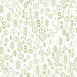 Financial icon set seamless background, dollar currency money signs, backdrop for financial website or economical theme ads and information, vector wallpaper or web site background.