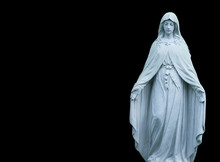 Antique Statue Of Holy Virgin Mary As Symbol Of Pain, Suffering And Love.