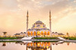 canvas print picture - Sharjah Mosque beautiful sunset view second biggest mosque in United Arab Emirates beautiful traditional Islamic architecture new tourist attraction in Middle east