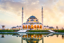 Sharjah New Mosque Sunset View Largest Mosque In Dubai, Famous Travel And Tourist Spot Beautiful Architecture Design