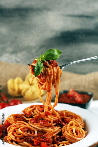 Plate of delicious spaghetti Bolognaise or Bolognese with savory minced beef and Canvas Print